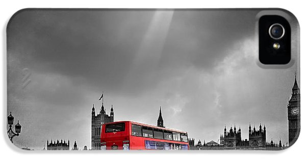 City Scene iPhone 5 Cases - Red Bus iPhone 5 Case by Svetlana Sewell