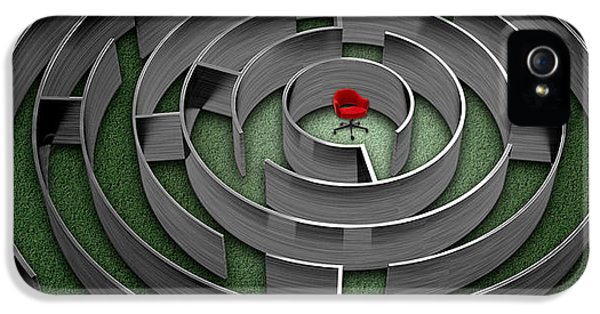 Complexity iPhone 5 Cases - Red Chair In Middle Of Maze iPhone 5 Case by Panoramic Images