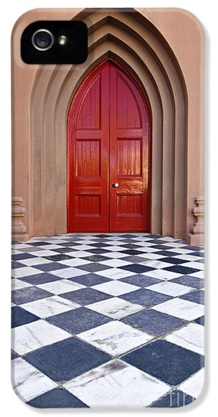Checker Board iPhone 5 Cases - Red Door - D001859 iPhone 5 Case by Daniel Dempster