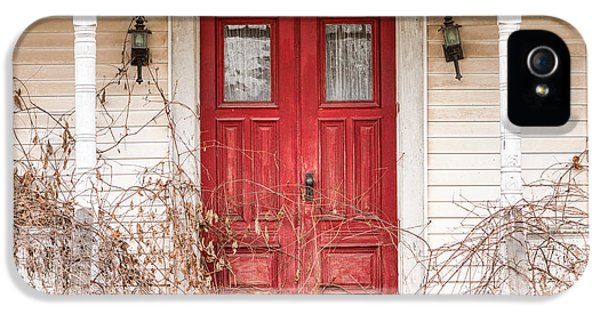 Porch iPhone 5 Cases - Red doors - Charming old doors on the abandoned house iPhone 5 Case by Gary Heller