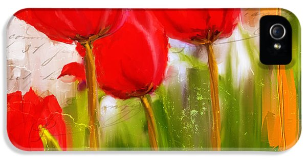 Tulips iPhone 5 Cases - Red Enigma- Red Tulips Paintings iPhone 5 Case by Lourry Legarde