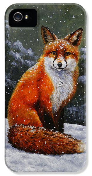 Red Fox iPhone 5 Cases - Red Fox iPhone Case iPhone 5 Case by Crista Forest