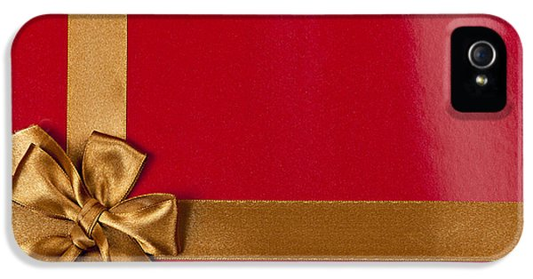 Wrapped iPhone 5 Cases - Red gift background with gold ribbon iPhone 5 Case by Elena Elisseeva