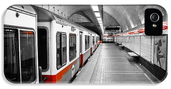 City Scene iPhone 5 Cases - Red Line iPhone 5 Case by Charles Dobbs