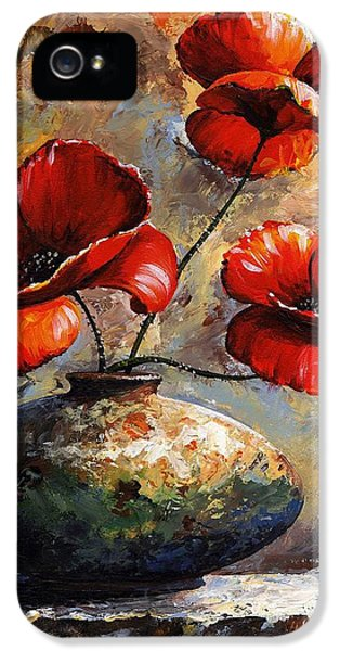 Coloured iPhone 5 Cases - Red Poppies 02 iPhone 5 Case by Emerico Imre Toth