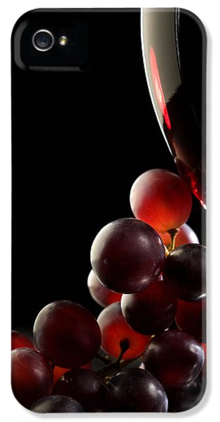 Backlight iPhone 5 Cases - Red wine with grapes iPhone 5 Case by Johan Swanepoel