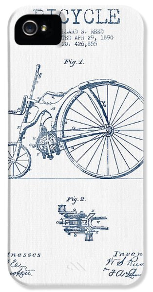 Reed Bicycle Patent Drawing From 1890 - Blue Ink IPhone 5 / 5s Case by Aged Pixel