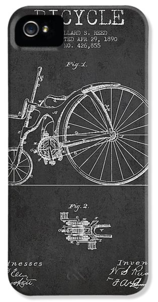 Bicycle iPhone 5 Cases - Reed Bicycle Patent Drawing From 1890 - Dark iPhone 5 Case by Aged Pixel