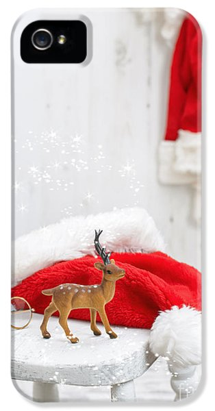 Stools iPhone 5 Cases - Reindeer With Santa Hat iPhone 5 Case by Amanda And Christopher Elwell