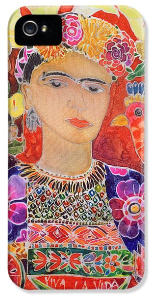 Mexican iPhone 5 Cases - Respects To Frida Kahlo, 2002 Coloured Ink On Silk iPhone 5 Case by Hilary Simon