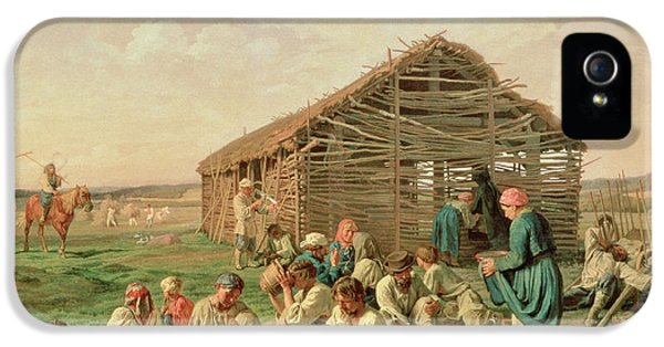Reaper iPhone 5 Cases - Rest During Haying, 1861 Oil On Canvas iPhone 5 Case by Aleksandr Ivanovich Morozov