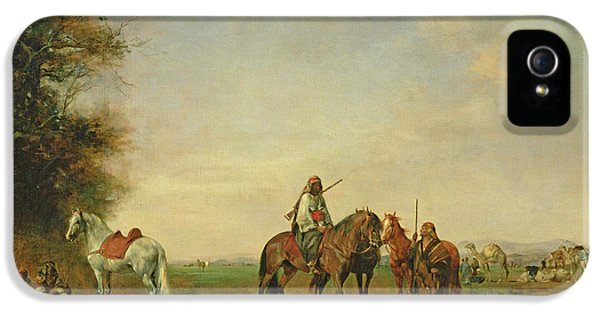 Rifle iPhone 5 Cases - Resting Place Of The Arab Horsemen On The Plain, 1870 iPhone 5 Case by Eugene Fromentin