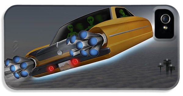 Spaceships iPhone 5 Cases - Retro Flying Object 1 iPhone 5 Case by Mike McGlothlen