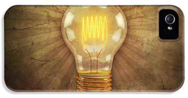 Filament (lightbulb) iPhone 5 Cases - Retro Light Bulb iPhone 5 Case by Scott Norris