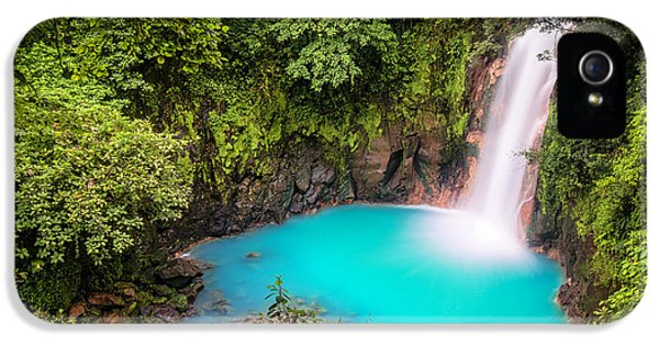Tourism iPhone 5 Cases - Rio Celeste Waterfall iPhone 5 Case by Andres Leon