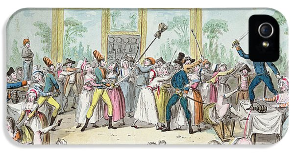 Social History iPhone 5 Cases - Riotous Scene In A Tavern During The Period Of The French Revolution, C.1789 Wc On Paper iPhone 5 Case by Etienne Bericourt