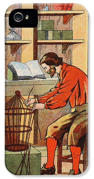Ashore iPhone 5 Cases - Robinson Crusoe making a cage for his parrot iPhone 5 Case by English School