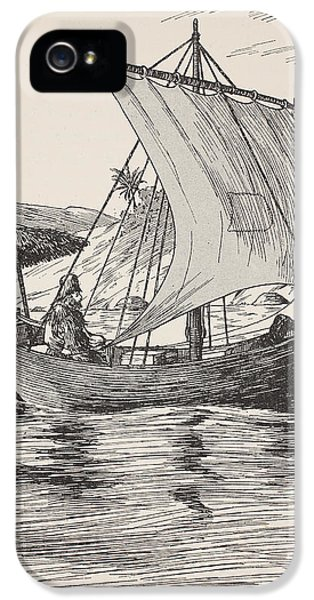Ashore iPhone 5 Cases - Robinson Crusoe on his boat iPhone 5 Case by English School
