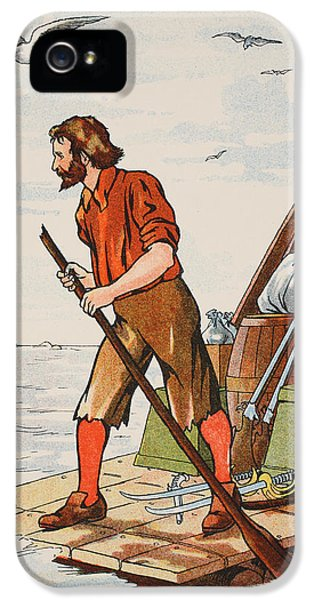 Ashore iPhone 5 Cases - Robinson Crusoe on his raft iPhone 5 Case by English School