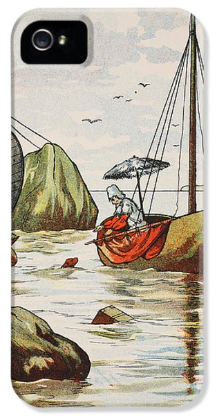 Ashore iPhone 5 Cases - Robinson Crusoe rescuing a dog from a Spanish shipwreck iPhone 5 Case by English School