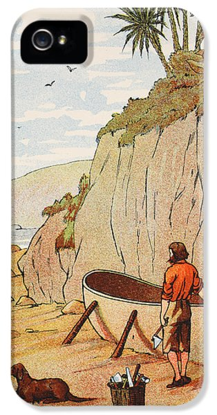 Ashore iPhone 5 Cases - Robinson Crusoes canoe iPhone 5 Case by English School