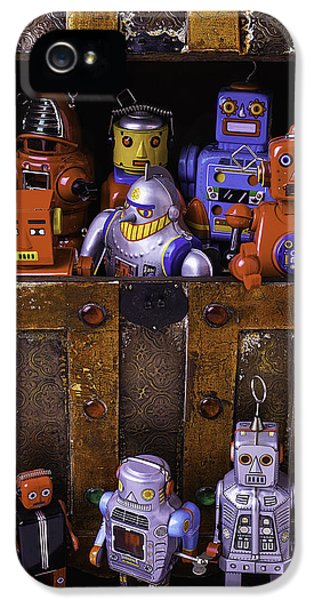 Robot iPhone 5 Cases - Robots In Treasure Box iPhone 5 Case by Garry Gay
