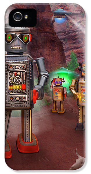 Robot iPhone 5 Cases - Robots With Attitudes 2 iPhone 5 Case by Mike McGlothlen