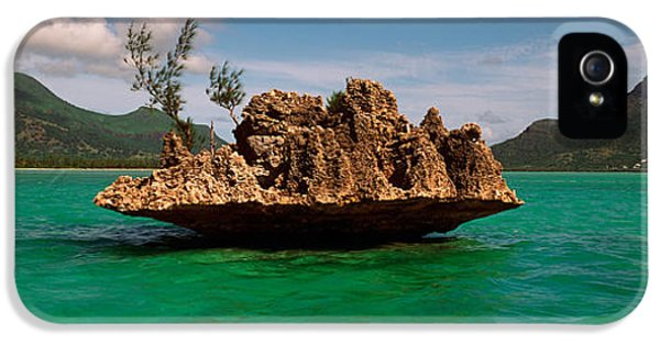 Indian Ocean iPhone 5 Cases - Rock In Indian Ocean With Mountain iPhone 5 Case by Panoramic Images