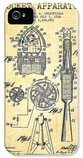 Rockets iPhone 5 Cases - Rocket Apparatus Patent from 1914-Vintage iPhone 5 Case by Aged Pixel