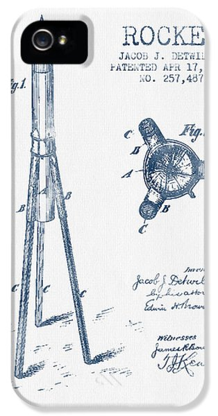 Rockets iPhone 5 Cases - Rocket Patent Drawing From 1883 - Blue Ink iPhone 5 Case by Aged Pixel