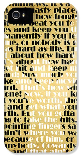 Balboa iPhone 5 Cases - Rocky Balboa Quote Poster iPhone 5 Case by Pete Baldwin