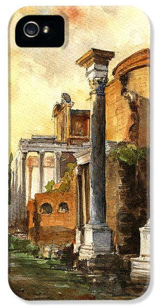 Ruins iPhone 5 Cases - Roman forum iPhone 5 Case by Juan  Bosco