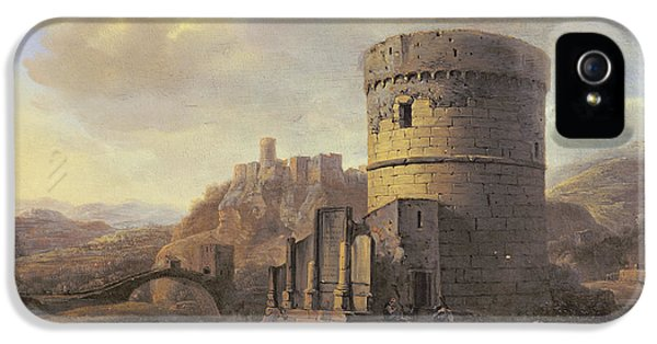 Ruins iPhone 5 Cases - Roman Landscape The Tomb Of Cecilia Metella Oil On Panel iPhone 5 Case by Jacob de Heusch