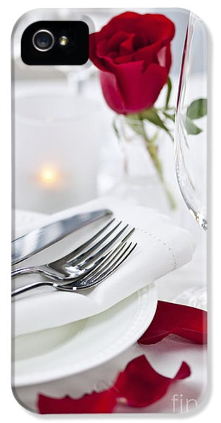 Roses iPhone 5 Cases - Romantic dinner setting with rose petals iPhone 5 Case by Elena Elisseeva