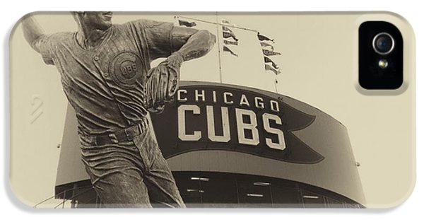 Central Division iPhone 5 Cases - Ron Santo Chicago Cub Statue In Heirloom Finish iPhone 5 Case by Thomas Woolworth