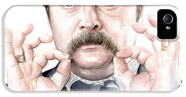 Tv Show iPhone 5 Cases - Ron Swanson Portrait iPhone 5 Case by Olga Shvartsur