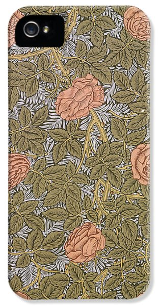 Arts And Crafts Movement iPhone 5 Cases - Rose 93 wallpaper design iPhone 5 Case by William Morris