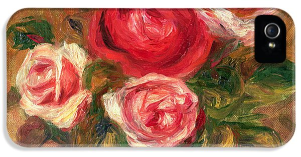 Blossom iPhone 5 Cases - Roses in a Pot iPhone 5 Case by Pierre Auguste Renoir