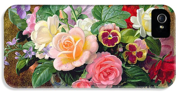 Roses Pansies And Other Flowers In A Vase IPhone 5 / 5s Case by Albert Williams