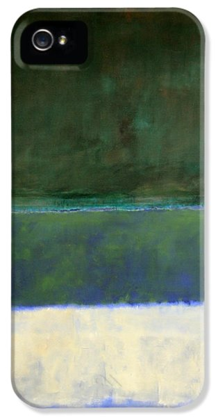 District Columbia iPhone 5 Cases - Rothkos No. 14 -- White And Greens In Blue iPhone 5 Case by Cora Wandel