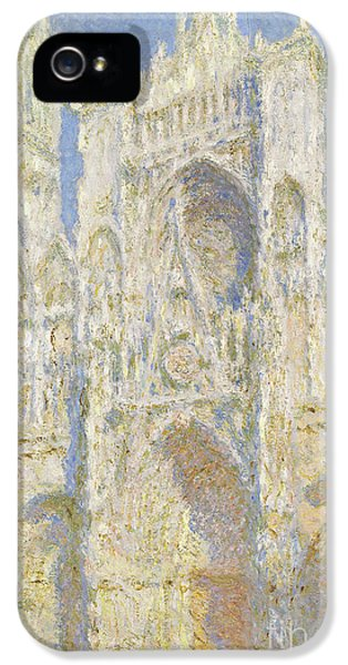 Porch iPhone 5 Cases - Rouen Cathedral West Facade iPhone 5 Case by Claude Monet
