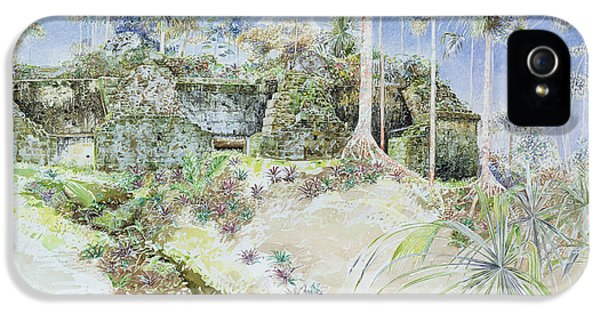 Ruins iPhone 5 Cases - Ruined Temple, Tikal, Guatemala, 1984 Wc On Paper iPhone 5 Case by James Reeve