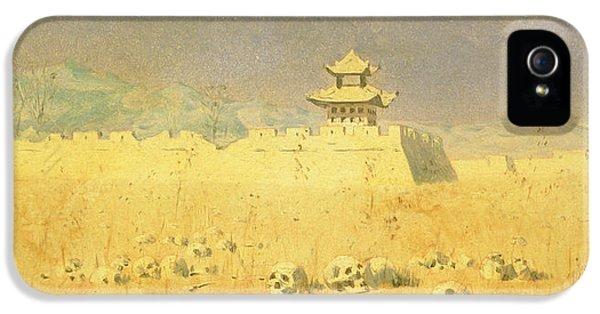 Ruins iPhone 5 Cases - Ruins In Chuguchak, 1869 Oil On Canvas iPhone 5 Case by Piotr Petrovitch Weretshchagin