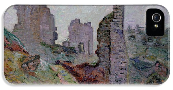 Ruins iPhone 5 Cases - Ruins in the Fog at Crozant iPhone 5 Case by Jean Baptiste Armand Guillaumin