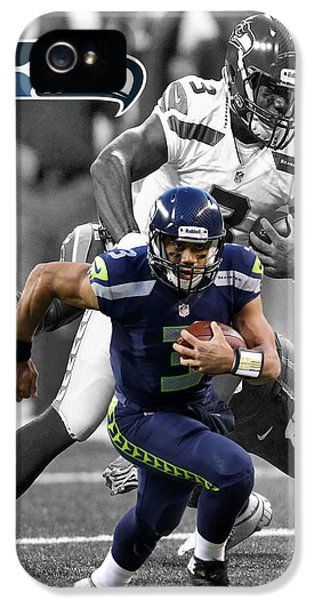 Padded iPhone 5 Cases - Russell Wilson Seahawks iPhone 5 Case by Joe Hamilton