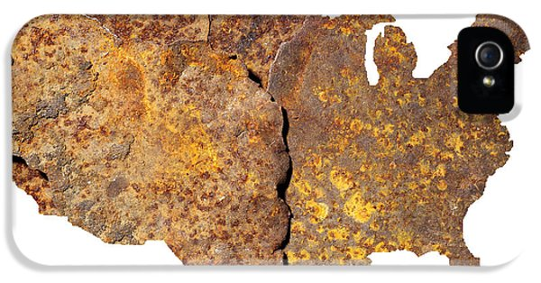 Corroded iPhone 5 Cases - Rusty USA map iPhone 5 Case by Tony Cordoza