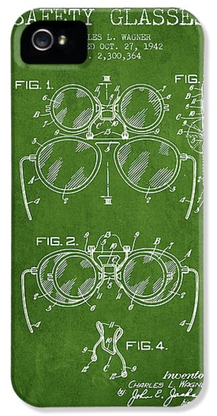 Safety iPhone 5 Cases - Safety Glasses Patent from 1942 - Green iPhone 5 Case by Aged Pixel