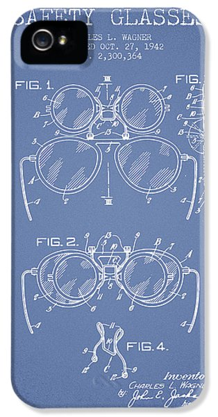 Safety iPhone 5 Cases - Safety Glasses Patent from 1942 - Light Blue iPhone 5 Case by Aged Pixel