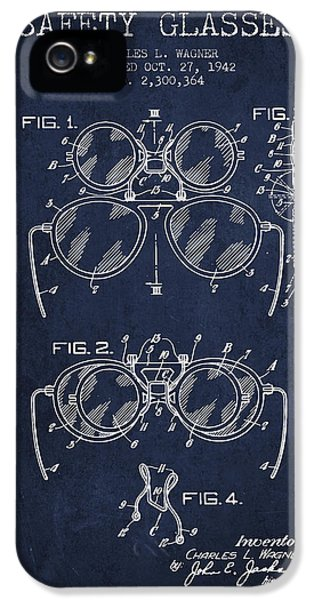 Safety iPhone 5 Cases - Safety Glasses Patent from 1942 - Navy Blue iPhone 5 Case by Aged Pixel