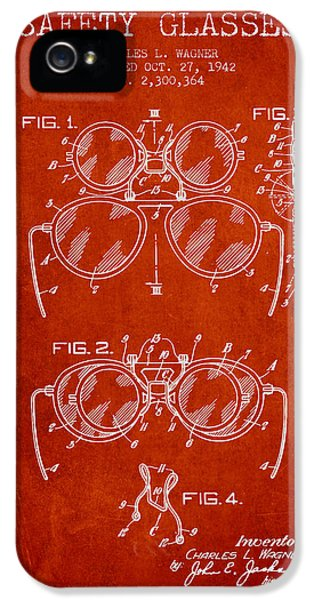 Safety iPhone 5 Cases - Safety Glasses Patent from 1942 - Red iPhone 5 Case by Aged Pixel